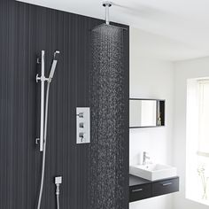 """Arco Thermostatic Shower System Complete Set With Triple Brass Valve, 8"""" Rainfall Fixed Head, Ceiling Mounted Arm, Square Slide Rail Kit and Hand Set Sprayer - Chrome Finish - Shower Systems - Amazon.com"""