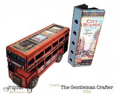 Jim the Gentleman Crafter's Cityscapes double decker bus and mini album built from chipboard #graphic45