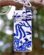 """Blue Willow Antique Pottery Rectangle Pendant - also know as """"Willow Ware"""" was made by several manufacturers and graced the homes of millions throughout the 1900's, the broken pieces were tossed into dumps in the woods, or on a designated part of the farm.  This pretty blue and white pottery, tells an ancient Chinese love story, was produced on many pieces. $58.00"""