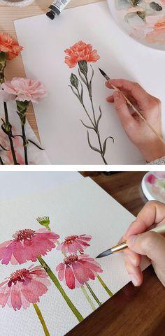 Watercolor Beginner, Watercolor Paintings For Beginners, Watercolor Art Lessons, Watercolor Projects, Painting With Watercolors, Watercolor Tips, Beginner Painting, Painting Lessons, Watercolor Techniques