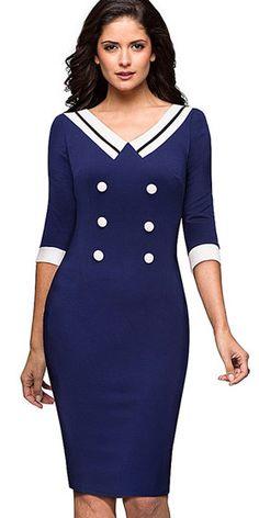 Compre Vestido Bicolor Tubinho Social Para Trabalhar Preto Azul | UFashionShop