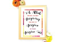 Oh Allah Forgive Me... Printable -  #Etsy #WallArt #Islam #Printables #Shop #Islamic