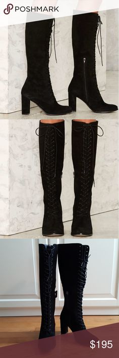 NEW Matisse Princely Black Suede Boots Nasty Gal 7 Brand new,  tried on but never worn,  no box. GORGEOUS Matisse knee high black lace up boots. Genuine leather / suede. US women's size 7. From Nasty Gal. Matisse Shoes Heeled Boots