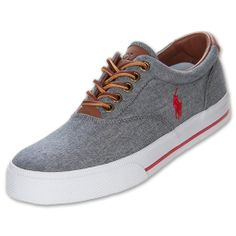 Polo Ralph Lauren Men's Vaughn Casual Shoes, Grey/Red Chambray