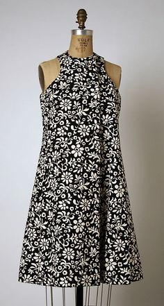 Black-and-white printed cotton dress by Geoffrey Beene, American, 1963-69.