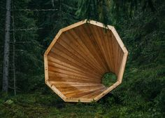Giant timber megaphones designed by students to amplify sounds of an Estonian forest.