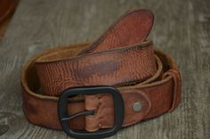 Mens Belt - Genuine Cowhide Leather Belt Strap - Unique Distortion Wrinkle Impression Belt - Reddish Brown Leather Belt - Distressed Belt by SherryJewelry, $27.00