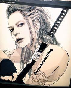 MV全然公開されないので、ヘアスタイル適当に色んなの混ぜてみたwこんな感じの時あるある😋←  ・  ドントビーアフレイドのアー写の衣装?ハイネック??ジャケット???取り敢えずなんかいっぱい着ててよく分かんないから全部取っ払っちゃって😗❤️はぃスッキリ👍←  ・  #illustration #illust #dontbeafraid #絵 #まだ途中 #larcenciel #larc #hyde #samurai #japanesevampire #完成ですか #まだ途中っす #hydeさんが #本当に好きなんだねぇ #高校からの友人に感心される #笑 #vamps