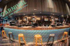 Our Leon Bar stools look fab at Carnival Live Lounge #bar #design #furniture  Find out more http://defrae.com/portfolio/carnival-live-lounge/