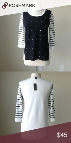 Embellished stripe 3/4 sleeve pullover sweater -Stretch fit -Faux pearls embellish the front -71% Rayon, 29% Nylon  Measurements in inches Small: bust 36, length 25-27 Medium: bust 38, length 26.5-28.5 Large: bust 40, length 27.5-29.5 White House Black Market Sweaters Crew & Scoop Necks