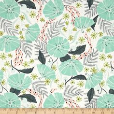 Designed by Rae Ritchie for Dear Stella Designs, this cotton print fabric features large plant prints in bright colors that make the forest look like a cheery place. Perfect for quilting, apparel and home decor accents. Colors include coral, brown, shades of grey, white, black, shades of mint and lime green.