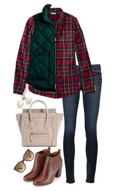 Flannel by the-southern-prep on Polyvore featuring J Brand, Monsoon, Ray-Ban and J.Crew