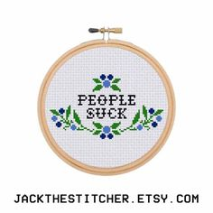 People Suck Introvert Subversive Modern Cross Stitch Template Pattern Instant PDF Download by JackTheStitcher on Etsy https://www.etsy.com/listing/264563455/people-suck-introvert-subversive-modern