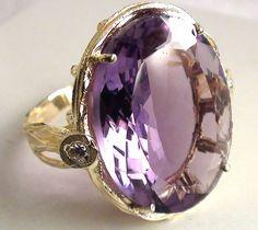 Estate Oval 12ct Purple Amethyst Diamond 14k Yellow Gold Cocktail Ring. $499.00, via Etsy.
