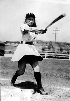 """Gertrude """"Tiby"""" Eisen    All-American Girls Professional Baseball League    Likely in her Grand Rapid Chicks uniform (Tiby played for several teams)    1945"""