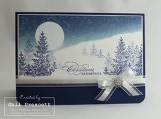 Stampin' Up UK lilybygilly - lovely as a tree Christmas landscape