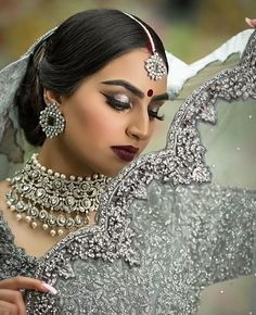 Pinterest: @pawank90 Indian Clothes, Indian Dresses, Indian Bridal Hairstyles, White Necklace, Brides, Bollywood, Culture, Hair Styles, Wedding