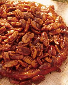This upside-down pie is for the pecan-pie fan who prefers nuts and caramel to the traditional butterscotch filling. It is important to use a cast-iron skillet when making this dessert. Serve it warm with a scoop of vanilla ice cream.