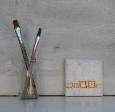 Abstrakte Malerei Blattgold Leinwand 10x10x15 cm von AtelierMaltopf