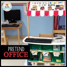 Need a new pretend play idea for your preschoolers? Type, click, ring... create a fun Pretend Play Office for your dramatic play center to encourage preschoolers to learn and explore!