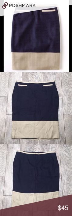 """🎉 SALE! Boden navy and tan pencil skirt 12 Boden navy and tan pencil skirt. Beautiful skirt! Navy with tan/stone color trim and hem. Fully lined, concealed back zipper. EUC- no flaws. Size 12. Waist laying flat 17.5"""", length 24.5"""" Boden Skirts Pencil"""
