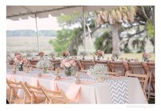 reception, babys breath, gray chevron, peach roses, palm trees, tablescape, place setting, tent, peach, Cypress Trees Plantation Wedding, Charlotte NC Wedding Photographer, Kristin Vining Photography