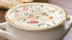 Creamy Chicken and Wild Rice Soup finished product.