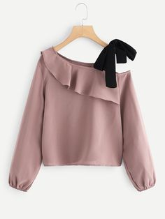Women Cute Plain Top Regular Fit Asymmetrical Neck Long Sleeve Bishop Sleeve Pullovers Pink Regular Length Ruffle Trim Tie Detail Blouse