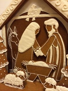 Gingerbread Nativity pattern and tutorial. Cookie Nativity Scene with Mary, Joseph and Baby Jesus in a stable Gingerbread Village, Christmas Gingerbread House, Christmas Nativity Scene, Gingerbread Cookies, Christmas Cookies, Nativity Scenes, Christmas Crafts For Kids, Christmas Baking, Christmas Fun