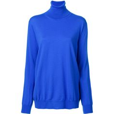 Stella McCartney turtle neck jumper (€405) ❤ liked on Polyvore featuring tops, sweaters, blue, long sleeve turtleneck, polo neck sweater, blue top, long sleeve sweater and turtle neck top