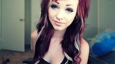 black hair with blonde and red streaks im dying it like this!!!!