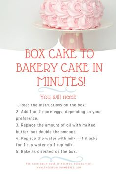 Convert Box Cake Mix to a Bakery Cake In Minutes! - The Girl-Convert Box Cake Mix to a Bakery Cake In Minutes! – The Girl Outnumbered Desserts Convert Box Cake Mix to a Bakery Cake In Minutes! – The Girl Outnumbered Desserts - Bakery Cakes, Food Cakes, Cupcake Cakes, Bakery Box, Bakery Style Cake, Cake Mix Cupcakes, Cake Mix Pound Cake, Cake Mix Muffins, Velvet Cupcakes