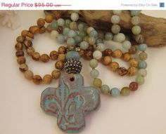 Amazonite / Jasper Long Beaded Necklace by HelloSweetieHandmade