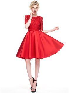 A-Line/Princess Scoop Neck Knee-Length Satin Lace Cocktail Dress