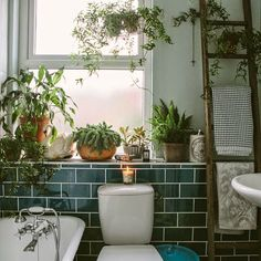 Bathroom: Blue, White and Green