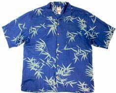 Vintage Tommy Bahama L Blue green bamboo 100% SILK Hawaiian camp Textured #TommyBahama #Hawaiian