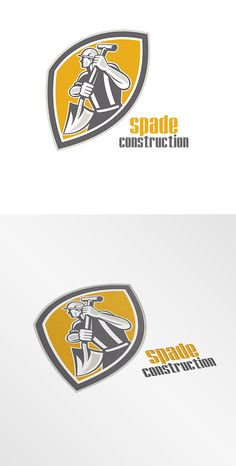 Buy Spade Construction Logo by patrimonio on GraphicRiver. Logo showing illustration of a construction worker wearing hardhat digging using shovel spad. Business Brochure, Business Card Logo, Hard Hats, Construction Worker, Minimal Logo, Site Website, Logo Color, Logo Templates, Design Templates