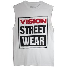 Vision Streetwear Logo Sleeveless T-Shirt White (655 DOP) ❤ liked on Polyvore featuring tops, t-shirts, white shirt, tee-shirt, vision street wear shirt, white logo t shirts and logo t shirts