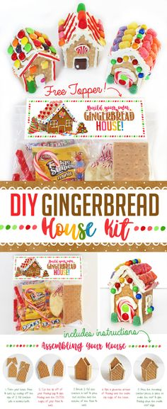 Diy gingerbread house kit in a jar bake sale pinterest diy complete gingerbread house kit in a bag free printable topper with instructions ideas solutioingenieria Choice Image