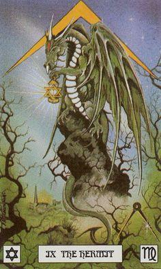IX - L'ermite - Dragon de tarot par Peter Pracownik