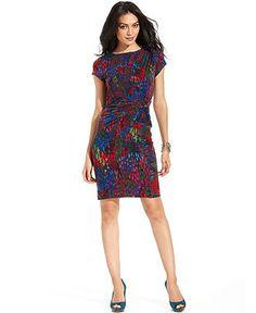 Ellen Tracy Dress, Cap-Sleeve Printed Knot Sheath - Dresses - Women - Macy's