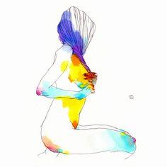 Acariciarse el pelo. Manías. Y así, deja de sentirse desnuda.  Muses ///. Conrad Roset.