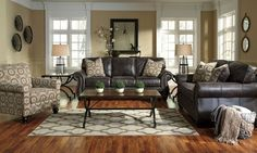 Ashley Breville Charcoal Sofa & Loveseat is part of Big Living Room Furniture - Fall in love with the Breville Charcoal Sofa & Loveseat from Signature Design by Ashley at Furniture City, Fresno, CA Charcoal Living Rooms, Brown And Blue Living Room, Paint Colors For Living Room, Living Room Sets, Living Room Designs, Room Paint, Living Area, Brown Furniture, Living Room Furniture