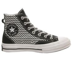 All Star Hi 70s Trainers Converse All Star, Converse Chuck Taylor, Low Key, White Patterns, Trainers, High Top Sneakers, Slip On, Unisex, Black And White