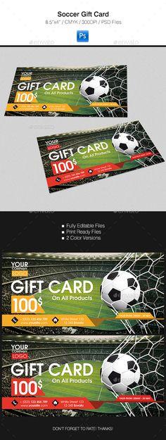 Gift Card #design Download: https://graphicriver.net/item/soccer-gift-card/16469908