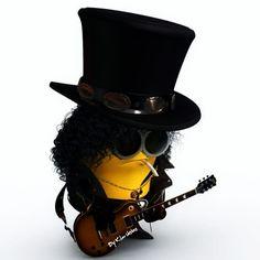 Heee heee, a Slash minion Cute Minions, Minions Despicable Me, Minion Stuff, Minions 2014, Evil Minions, Funny Minion, Guns N Roses, Minion Rock, 80s Rock Bands