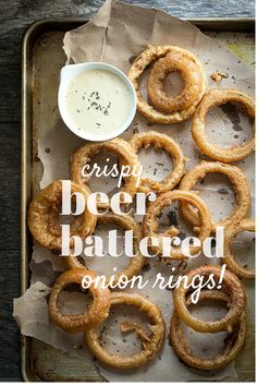 Crispy Guinness battered onion rings with a Dijon mustard dipping sauce | Foodness Gracious