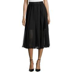 Carmen Marc Valvo Chiffon Pleated Midi Skirt (1,130 SAR) ❤ liked on Polyvore featuring skirts, black, pleated skirt, mid calf black skirt, chiffon knee length skirt, chiffon skirt and black chiffon skirt