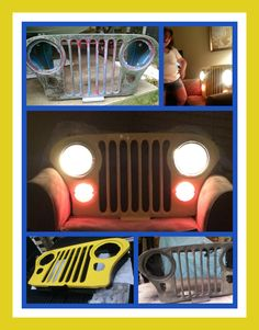 My birthday present!!! A Jeep Grill repurposed to a mood lighting wall hanging!!!David Jay did a FABULOUS job with the help of some real good friends!!!