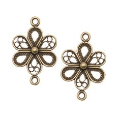 Solid brass in an antiqued finish. This item features holes on each end, and can be used in a variety of ways as a pendant or connector/link. Approximate measurements : 21.5mm  long from ring to ring, 13.5mm wide, and 3mm thick. Holes have an inner diameter of 1.3mm. Quantity: 2 Pieces JBB Findings brass items are made in Israel. For over 35 years JBB Findings has been manufacturing and casting high quality jewelry findings.